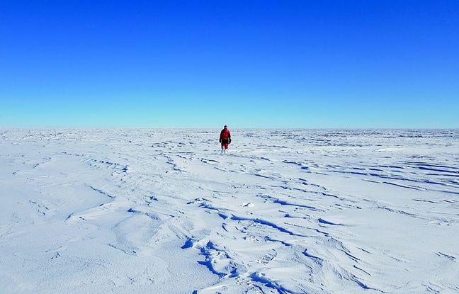 Cyprien Verseux lors de sa mission en Antractique, sur la base Concordia.