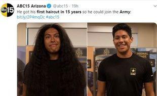 Reynaldo Arroyo fera don de ses cheveux à Locks of Love, une association qui réalise des perruques pour les enfants malades dont les traitements lourds entraînent une perte des cheveux.