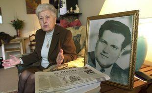 La veuve d'Ali Boumendjel, Malika Boumendjel, ici en 2001, est décédée en 2020.