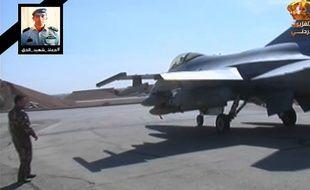 Capture d'écran de la télévision jordanienne qui montre un avion décollant d'Amman pour lancer des frappes aériennes sur Daesh, le 5 février 2015.