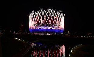 Le stade olympique de Lodnres s'embrase lors de la cérémonie d'ouverture des JO2012, le 27 juillet.