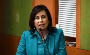 Au Guatemala, Sandra Torres, candidate en lice au second tour de l'élection présidentielle, à Guatemala City le 21 octobre 2015