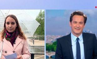 La journaliste Angélique Etienne a été victime d'un malaise pendant son duplex sur le JT de France 2 présenté par Nathanaël de Rincquesen.
