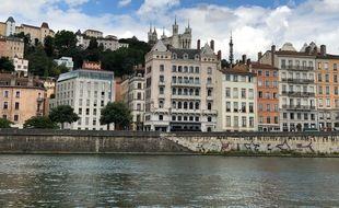 Vue du quartier du Vieux-Lyon, dans le 5e arrondissement de Lyon, en juin 2020.