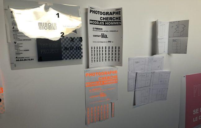 Les affiches de recrutement de l'artiste Lila Neutre, à la fondation Fiminco.
