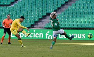 Mehdi Abeid a ouvert le score ce dimanche d'une puissante frappe à l'entrée de la surface stéphanoise. JEAN-PHILIPPE KSIAZEK