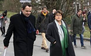 Arnaud Bousquet, au côté de Martine Aubry, lors de la campagne des municipales 2020  à Lille.