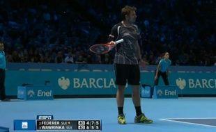 Stan Wawrinka peste contre la femme de Federer, le 16 novembre 2014 à Londres.