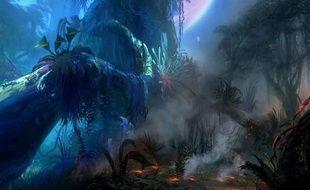 Vue d'artiste de la Planète Pandora, théâtre du film Avatar de James Cameron