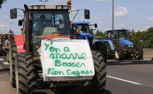 Les agriculteurs se deplacent sur l'A6 en direction de la Confluence pour rencontrer Xavier Beulin, President de la Federation nationale des syndicats d'exploitants agricoles (FNSEA). Les eleveurs en colere reclament au gouvernement des mesures sur les prix, au lendemain de l'annonce d'un plan d'aide.  Lyon, (Rhone) FRANCE-23/07/2015.   /FAYOLLE_Photo023/Credit:Pascal Fayolle/SIPA/1507241157