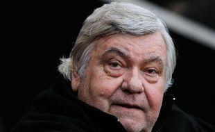 Louis Nicollin, le président du club de Montpellier, le 7 mai 2012 pendant le match contre Rennes.