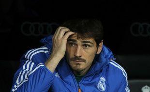 Iker Casillas sur le banc de touche du Real Madrid en octobre 2013.