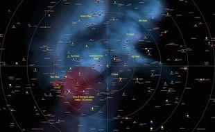 Détail d'une vue projetée depuis le dessus du plan galactique du catalogue des astres à moins de 10 parsecs, ou 30 années-lumière, soit 300 000 milliards de kilomètres