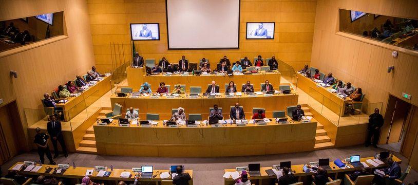 Les participants de la 35e session de l'Union africaine réunis dans la salle principale de l'UA, à Addis Abeba en Éthopie, le 22 janvier 2018.