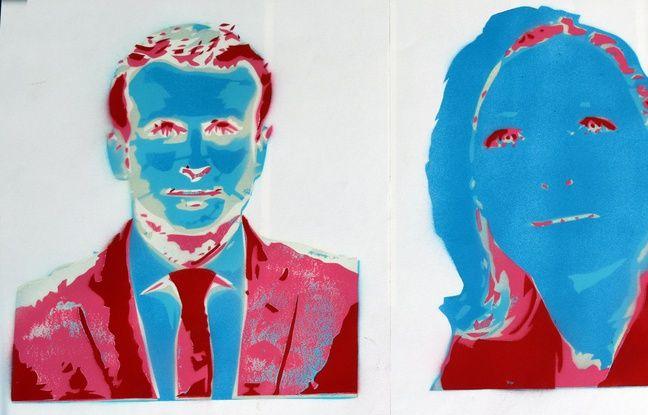Présidentielle: Un street artist lyonnais croque à sa façon Emmanuel Macron et Marine Le Pen dans actualitas fr 648x415_deux-portraits-issus-serie-romain-beignon