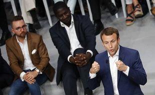 Emmanuel Macron, ce mardi soir à la Mutualité de Paris.