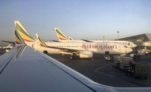 Un Boeing 737 MAX de la compagnie Ethiopian Airlines, le 11 février 2019 à l'aéroport d'Addis Ababa, en Ethiopie.