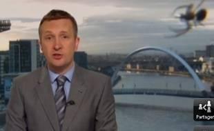 Une araignée s'est invitée sur la BBC écossaise le 13 août 2014.