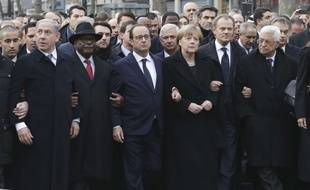 From the left : Israel's Prime Minister Benjamin Netanyahu, Mali's President Ibrahim Boubacar Keita, France's President Francois Hollande, Germany's Chancellor Angela Merkel, EU President Donald Tusk, and Palestinian President Mahmoud Abbas march during a rally in Paris, France, Sunday, Jan. 11, 2015. A rally of defiance and sorrow, protected by an unparalleled level of security, on Sunday will honor the 17 victims of three days of bloodshed in Paris that left France on alert for more violence. (AP Photo/Philippe Wojazer, Pool)/REB119/420786145142/1501111843