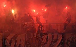 Illustration de supporters stéphanois lors de la rencontre face à Rennes le 10 mars 2018.