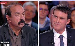 Philippe Martinez et Manuel Valls, sur le plateau de «L'Emission politique».