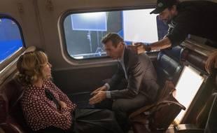 Vera Farmiga, Liam Neeson et Jaume Collet-Serra sur le tournage de The Passenger
