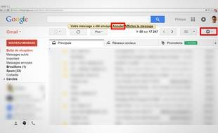 Il est désormais possible d'annuler l'envoie d'un email dans Gmail.