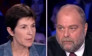 Christine Angot et Eric Dupond-Moretti dans «On n'est pas couché» diffusé le 10 mars 2018.