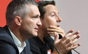 Olivier Létang et Julien Stephan, président et entraîneur du Stade Rennais.