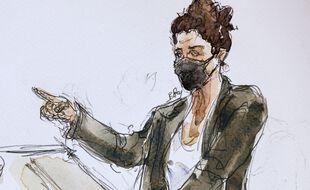 la dessinatrice Corinne Rey, alias Coco, à Paris le 8 septembre 2020 devant la Cour d'assises spéciale.