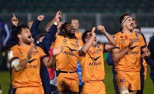 Les joueurs de Montpellier célèbrent leur victoire contre Bath (19-10) en demi-finale du Challenge européen de rugby, le 1er mai 2021.
