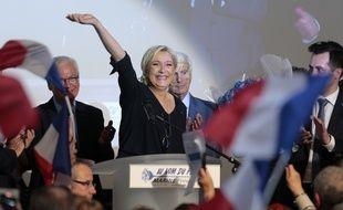 Marine Le Pen en meeting à Ajaccio, le samedi 8 avril 2017.