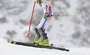 La skieuse française Sandrine Aubert, lors du slalom des championnats du monde de Val d'Isère, le 14 janvier 2009.