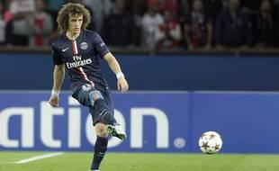 Le défenseur du PSG David Luiz lors de son match contre le Barça le 30 septembre 2014.