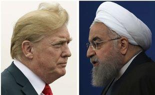 Photomontage du président américain Donald Trump et de son homologue iranien Hassan Rohani.