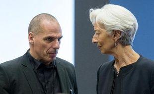 Le ministre des Finances grec Yanis Varoufakis et la patronne du FMI Christine Lagarde au Luxembourg, le 18 juin 2015