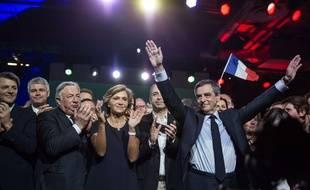 Gérard Larcher et Valérie Pécresse aux côtés de François Fillon, en meeting, en 2017.