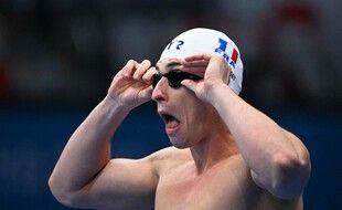 Maxime Grousset juste avant le départ de la finale du 100m à Tokyo.