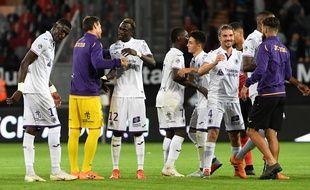 Les joueurs du TFC ravis après leur succès à Guingamp (1-2), le 1er septembre 2018 en Ligue 1.