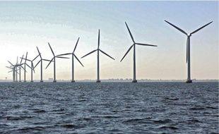 Semblable aux parcs maritimes d'Europe du Nord, le site du banc de Guérande pourrait compter 80 éoliennes.