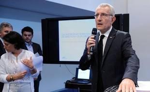 Guillaume Pepy, lors d'une conférence de presse sur le drame ferroviaire de Brétigny, le 24 juillet 2013