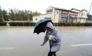 Une rue inondée au Muy (Var), le 24 novembre 2019.