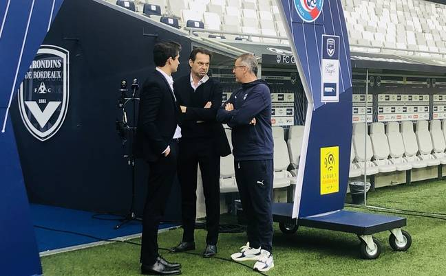 Niklas von Daehne et Rafaël Coste Campos de King Street avec Paulo Grilo, l'entraîneur des gardiens des Girondins.