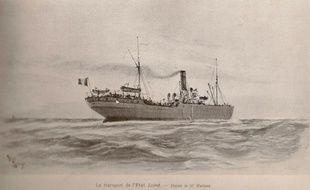 Le vaisseau de transport d'Etat Le Loiret à la barre duquel on trouvait, en 1925, le commandant Cornet.
