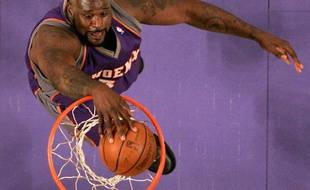 Shaquille O'Neal des Suns de Phoenix lors d'un match de la NBA face aux Lakers de Los Angeles, le 26 février 2009.