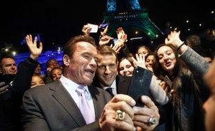 "Emmanuel Macron et Arnold Schwarzenegger au ""One planet summit"""
