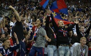Photo d'illustration des supporters du Kop Virage Nord, à Lyon, ici lors du derby contre les Verts, il y a deux ans.