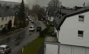 La tornade qui est passée sur la commune de Roetgen (Allemagne) mercredi 13 mars 2019.