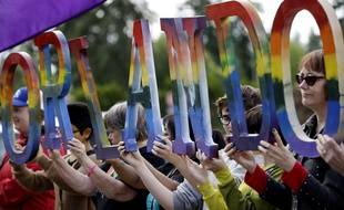 Une manifestation de soutien aux victimes de la tuerie d'Orlando le 15 juin 2016.