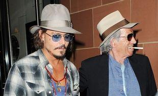 L'acteur Johnny Depp et le musicien Keith Richards à Londres